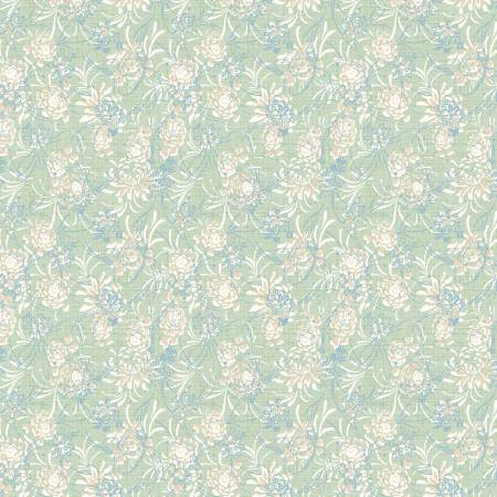 Sapphire Blossoms Green Wispy Floral