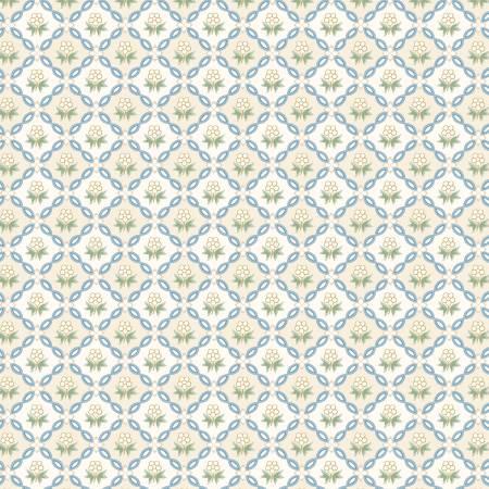 Wilmington Sapphire Blossoms 98668-141 Cream Floral Grid