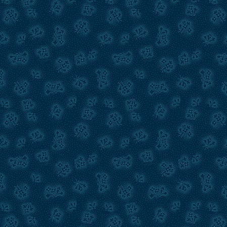 Sapphire Blossoms Navy Dotted Floral