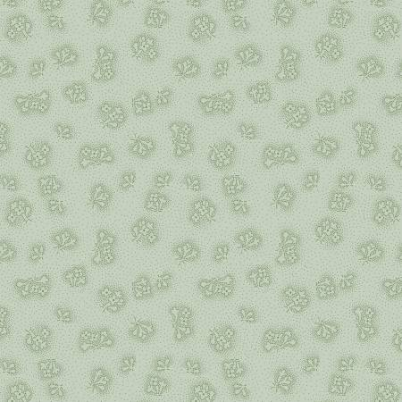Sapphire Blossoms Green Dotted Floral