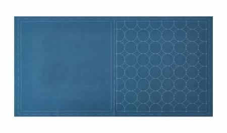 Cosmo Sashiko Cotton & Linen Precut Fabric - Circle - Blue
