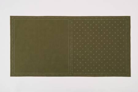 Cosmo Sashiko Cotton & Linen Precut Fabric - Kasuri - Khaki
