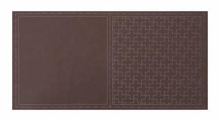 Cosmo Sashiko Cotton & Linen Precut Fabric - Cross - Brown