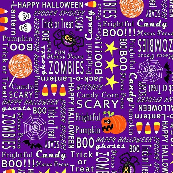 Purple Halloween Words Glows in the Dark