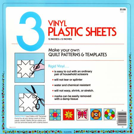 Blank Plastic Template Sheet 12in x 12in 3ct