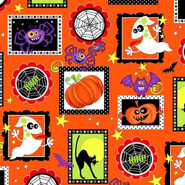 Orange Halloween Squares Glows in the Dark