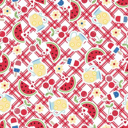 Maywood, Kimberbell, Red, White, & Bloom, Picnic Table, Red