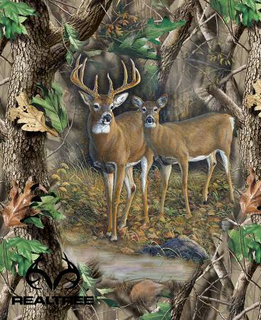 Forest Real Tree Deer Quilt Panel 36 x 44in