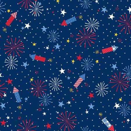 Maywood, Kimberbell, Red, White, & Bloom, Fireworks, Navy