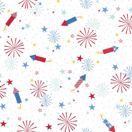 Maywood, Kimberbell, Red, White, & Bloom, Fireworks, White