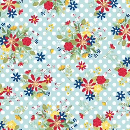 Maywood, Kimberbell, Red, White, & Bloom, Polka Dot Flower, Aqua