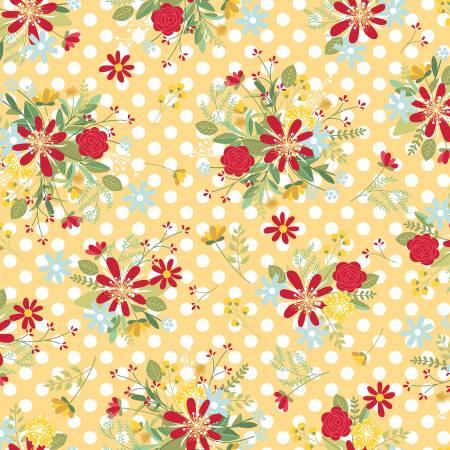 Maywood, Kimberbell, Red, White, & Bloom, Polka Dot Flower, Yellow