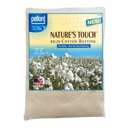 Pellon Natures Touch Natural Blend 80/20 Batting no scrim Twin-Sized 72in x 96in