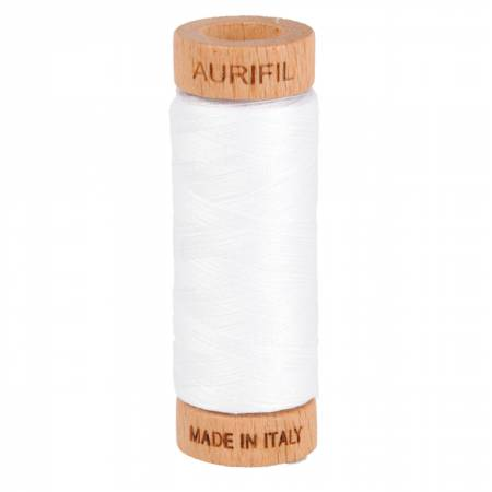 Aurifil Mako Cotton Thread 80wt 300yds - White 2024