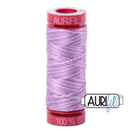 Aurifil Mako Cotton Thread 12wt 54 yds - French Lilac Variegated - 3840