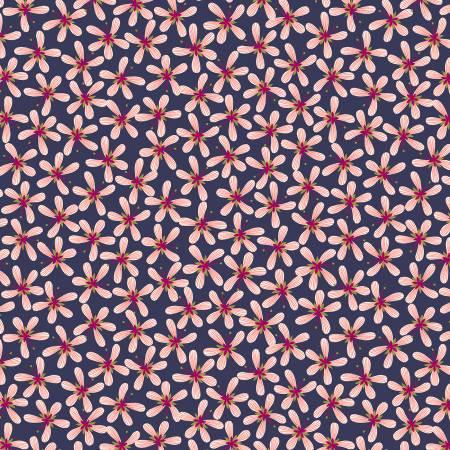 Dark Blue Stripy Flower A433-3