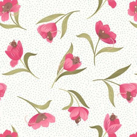 Lewis Irene Cream Mouse & Tulip A460-1