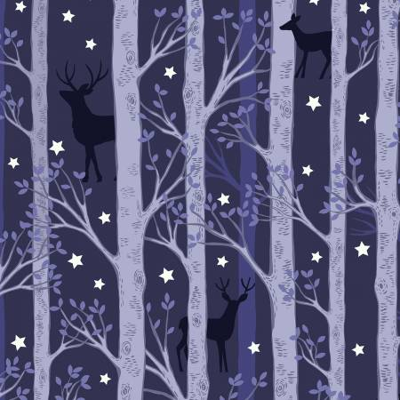 Forest deer on midnight blue, Glows in the Dark Fabric