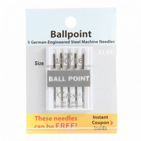 Klasse Carded Ball Point Machine Needle Size 16/100 5ct