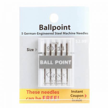 Klasse Carded Ball Point Machine Needle Size 14/90 5ct