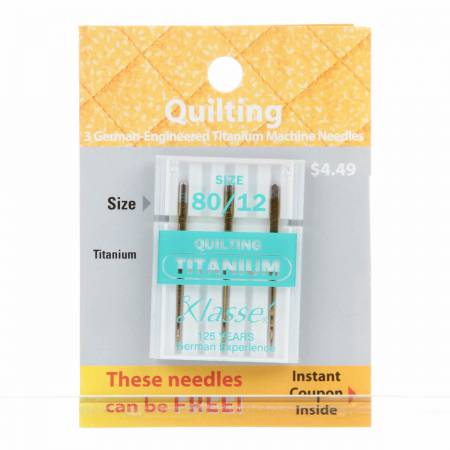 Klasse Carded Titanium Quilting Mch Ndl Size 12/80 3ct Previously Item 49020625