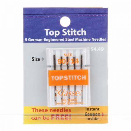 Klasse Carded Topstitch Machine Needle Size 90/14 5ct