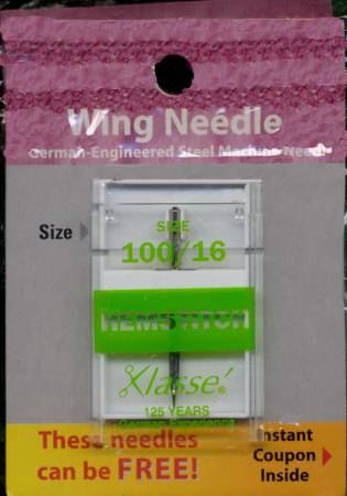 Klasse Carded Hemstitch/Wing Mch Ndl Size 16/100 1ct Previously Item 49025716