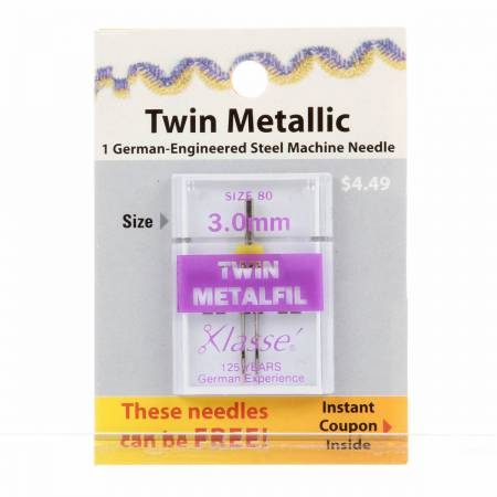 Klasse Carded Twin Metal Machine Ndl Size 3.0mm/80 1ct Previously Item 49025930