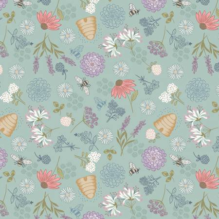 Queen Bee Floral on Duck Egg Blue