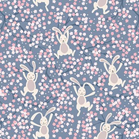 A526-3 Denim Blue Swinging Bunnies Bunny Hop Lewis & Irene