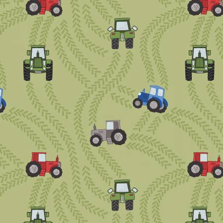 Piggy Tales - Tractor trails on green