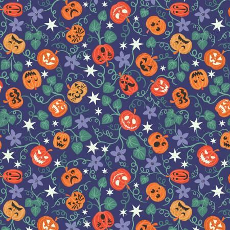 Castle Spooky - Blue Spooky Pumpkins Glow in the Dark Fabric