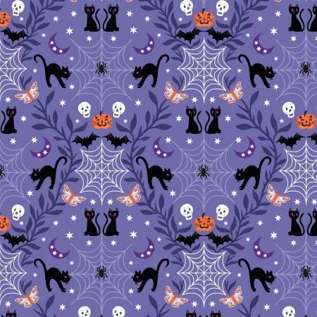Castle Spooky - Purple Cobwebs & Cats Glow in the Dark Fabric