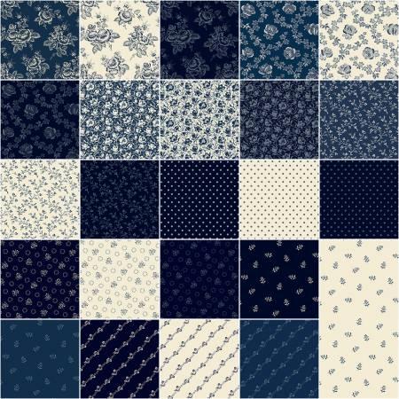 Fat Quarters Abigail Blue 24pcs/bundle