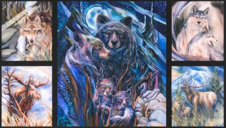 Robert Kaufman Bears & Wolves Panel
