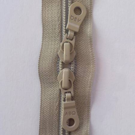 ABQ-30in Zipper Silver Gray Double Pull