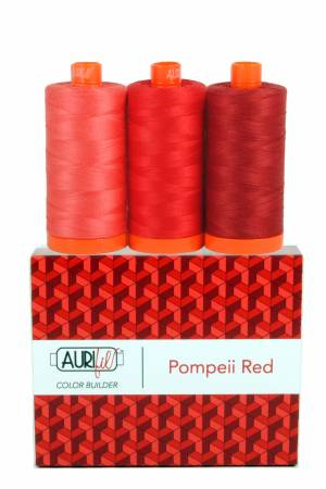 Aurifil 50wt Color Builder 3pc Set Pompeii Red