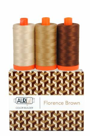 Aurifil 50wt Color Builder 3pc Set Florence Brown