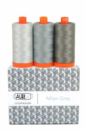 Aurifil 50wt Color Builder 3pc Set Milan Grey