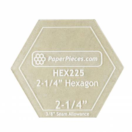 Acrylic Fabric Cutting Template for 2-1/4in Hexagon