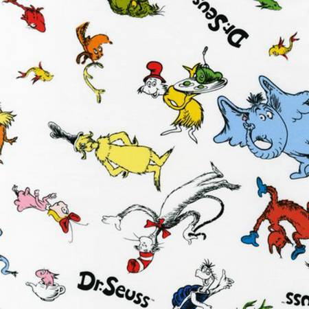 Celebration Dr Seuss Characters on White Fabric by the yard