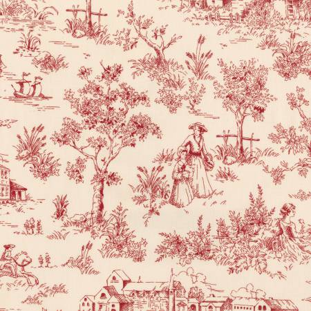 Red Toile 1930's Reproduction (#7049)
