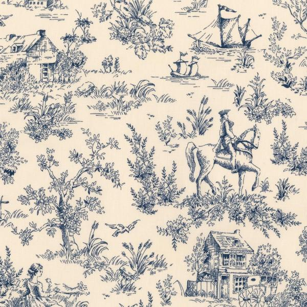Navy Toile 1930's Reproduction (#7065)