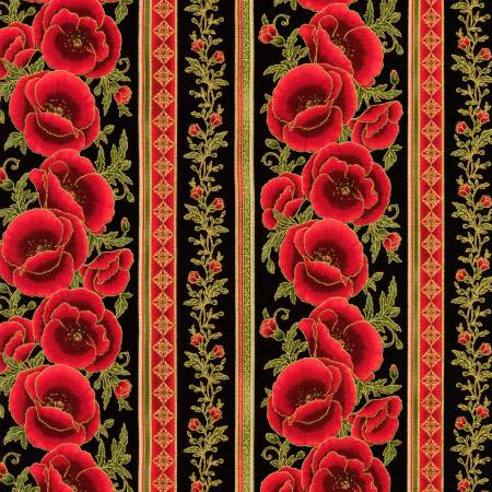 Robert Kaufman Gilded Blooms Metallic 18704-2 Black Floral Stripe w/Metallic