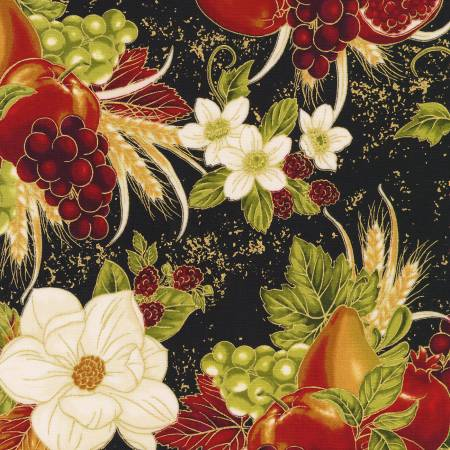 Robert Kaufman Bounty of the Season 19831-2 Fruit Black Harvest w/Metallic