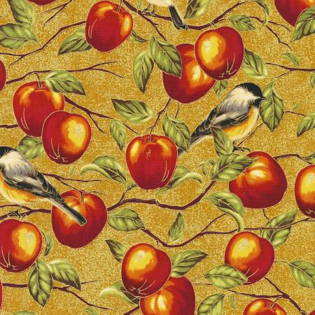 Robert Kaufman Bounty of the Season 19832-117Apples Apple Harvest w/Metallic