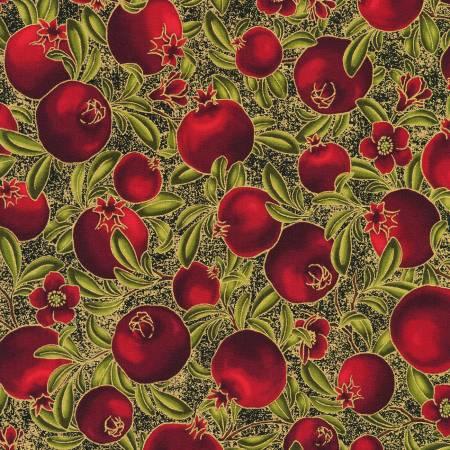 Robert Kaufman Bounty of the Season 19834-2 Black Pomegranates Black Harvest w/Metallic