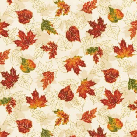 Robert Kaufman Autumn Bouquet 19859-14 Leaves Natural Autumn w/Metallic