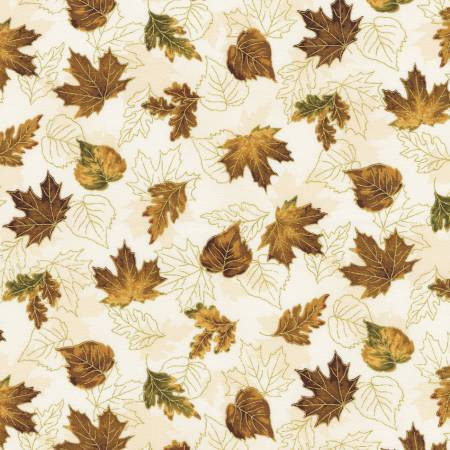 Leaves Ivory Autumn w/Metallic