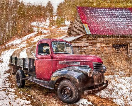Red Truck in Winter Digital Panel